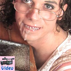 Crossdresser takes facial on braces